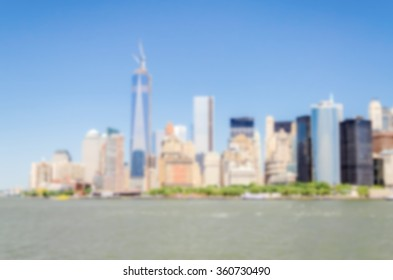 Defocused background with NYC Skyline, USA. Intentionally blurred post production for bokeh effect