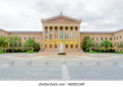 Defocused background of Philadelphia Museum of Art. Intentionally blurred post production for bokeh effect