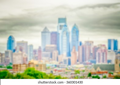 Defocused background of Philadelphia Skyline. Intentionally blurred post production for bokeh effect