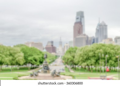 Defocused background of Philadelphia Skyline. Intentionally blurred post production for bokeh effect