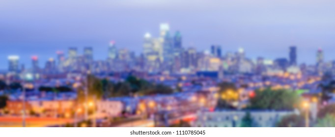 Defocused background of Philadelphia Skyline at Night. Intentionally blurred post production for bokeh effect
