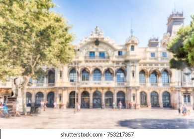 Defocused background with Port authority building in Barcelona, Catalonia, Spain. Intentionally blurred post production for bokeh effect