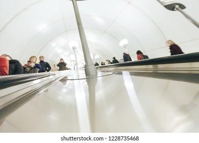 Defocused Background of Staircase Escalator Inside the Underground Subway Metro Station