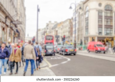 Defocused background of the Strand in London. Intentionally blurred post production for bokeh effect