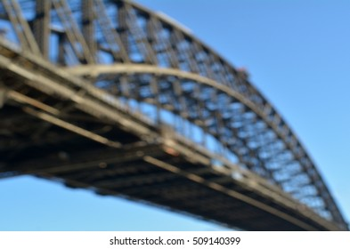 Defocused background of Sydney Harbour Bridge in Sydney, Australia. copy space