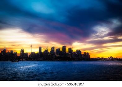 Defocused Background of Sydney Skyline View at Sunset in Australia.