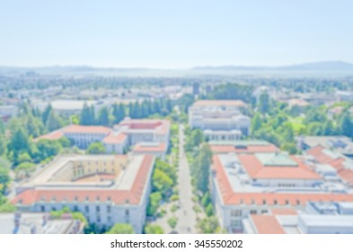 Defocused background with University of California, Berkeley. Intentionally blurred post production for bokeh effect