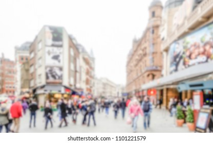 Defocused background of the West End of London. Intentionally blurred post production for bokeh effect
