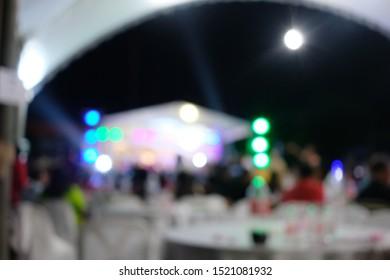 Defocused banquet social party at night