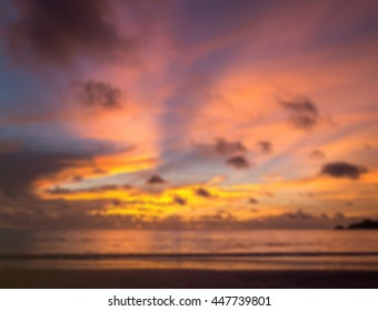 Defocused of Beautiful sunset on the beach , Phuket island, Thailand.( blur for background )
