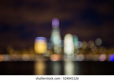 Defocused blur bokeh background in New York City
