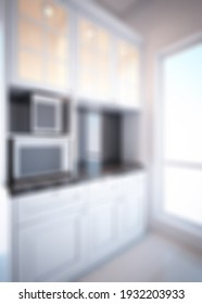 Defocused and Blur Photo of Modern and Luxury Kitchen Interior Design