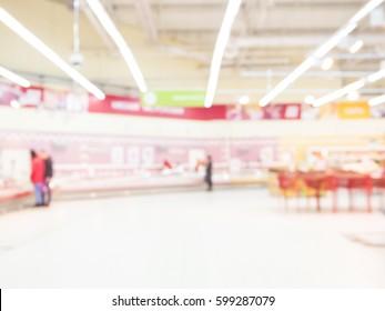 Defocused blur of supermarket interior. Blur background with bokeh. Defocused image