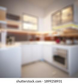 Defocused and Blurr Photo of Modern Minimalist Kitchen for Apartment Interior Design