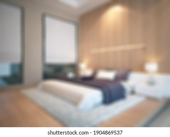 Defocused and Blurr Photo of Simple Modern Master Bedroom Interior Design