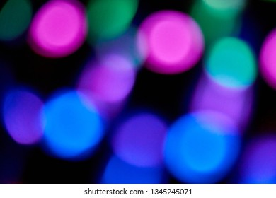 defocused and blurred colour leds