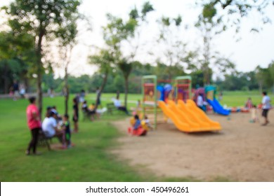 Defocused and blurred image for background of children's playground,activities for childen and family at public park