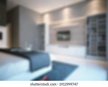 Defocused and Blurry Photo Simple and Minimalist Master Bedroom Interior Design