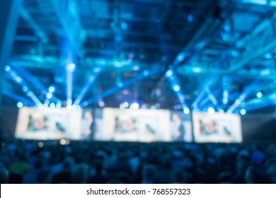 Defocused bokeh abstract of generic trade show expo stand - Concept of business social gathering for international tradeshow of tourism meeting exchange