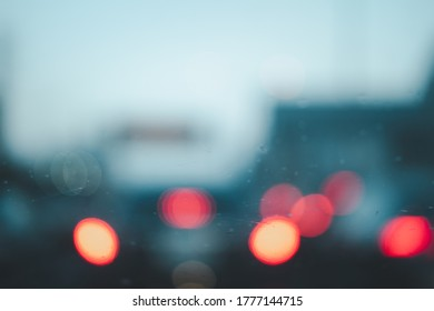 Defocused bokeh car light on road. bokeh background