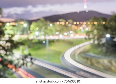 Defocused Canberra Highway at night