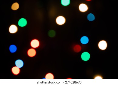 Defocused Christmas lights. Bokeh photography can be used as a background as well as an overlay.