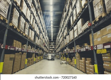 Defocused distribution storehouse or modern warehouse exterior with vintage tone