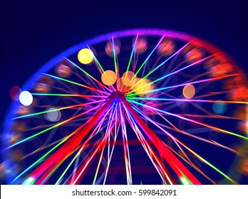 Defocused ferris wheel with colorful lights, Blur abstract background ready for your design