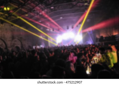 Defocused festival at arsenal.Stage and dancefloor with thousand people