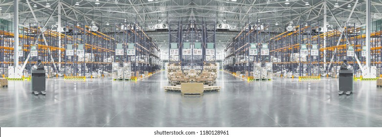De-focused and foggy collage of typical storage, warehouse interior. Selective focus. Copy space, Wide panoramic image.