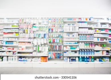 Defocused image of medicines arranged in shelves at pharmacy