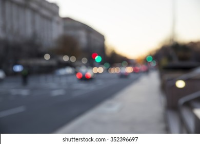 Defocused image of the street light in Washington DC. Bokeh effect