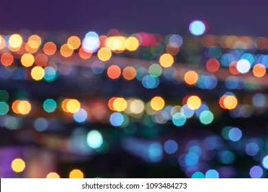Defocused lights abstract colorful nonagon bokeh background