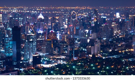 Defocused lights in the Bangkok city in Thailand. the bokeh light from light of building and traffic in the city, abstract background