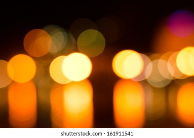defocused lights in the city at night