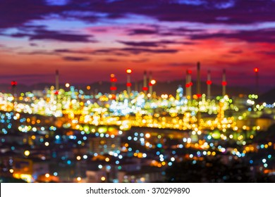 Defocused picture of Oil and gas refinery at twilight - Petrochemical factory