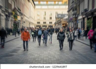 Defocused shopping street scene in London's west end