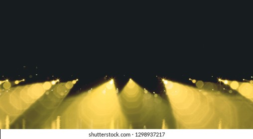 defocused street lamps and reflection on a water, natural photo image