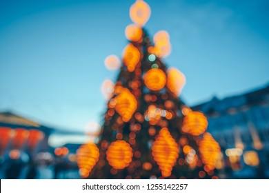 Defocused view of Christmas tree