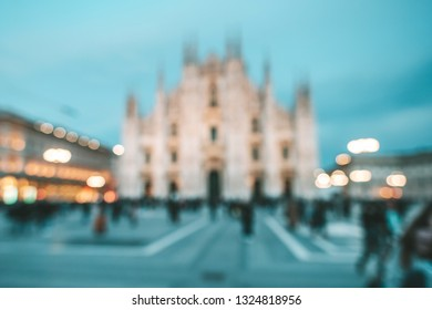 Defocused view of Milan Cathedral (Duomo di Milano) at night, Milan, Lombardy, Italy. It's famous tourist attraction.