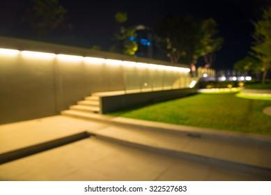 Defocused walkway in night garden background