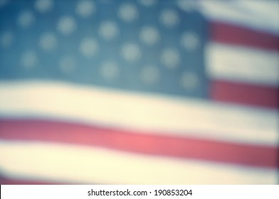 Defocussed video still of American flag