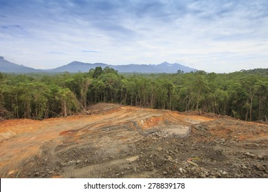 Deforestation: Scarred earth where tropical rain forest has been destroyed by human development in Borneo, Malaysia