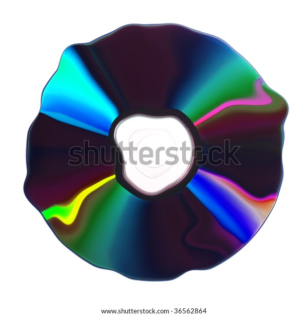 Deformed CD/DVD isolated on white background