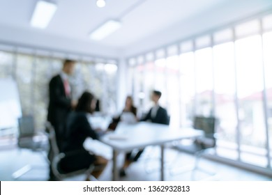 Defous blurry background business are present work in meeting with customer in office room