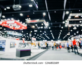 Defoused bokeh lights background of event exhibition, Business show concept.