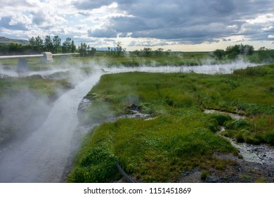 Deildartunguhver Hot Springs in Iceland, where boiling water and steam in the largest quantity in Europe exit the ground
