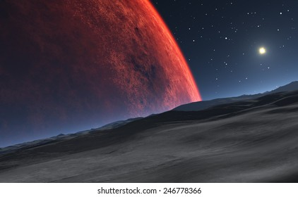 Deimos with the red planet Mars in the background