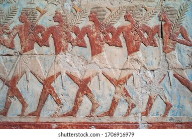 Deir El-Bahari, Luxor, Egypt - December 31 2010: Ancient Relief of the Trading Expedition of Queen Hatshepsut to the Land of Punt in the mortuary temple of the Pharaoh.