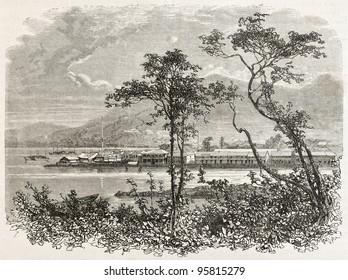 Dejima old view, Japan. Created by Sabatier, published on Le Tour Du Monde, Paris, 1867